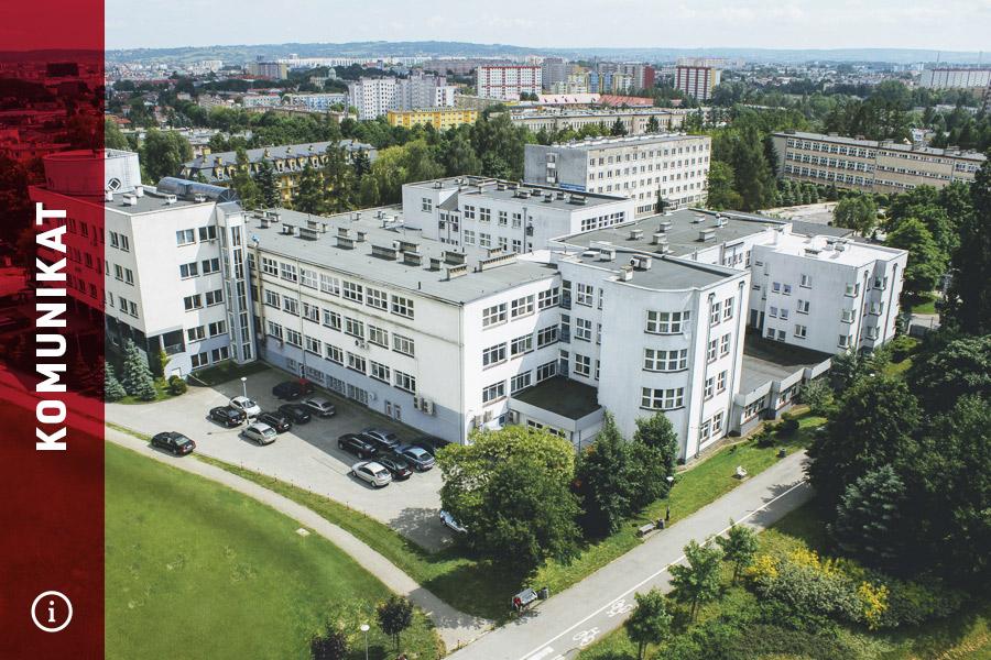 Zdjęcie uczelni znapisem komunikat